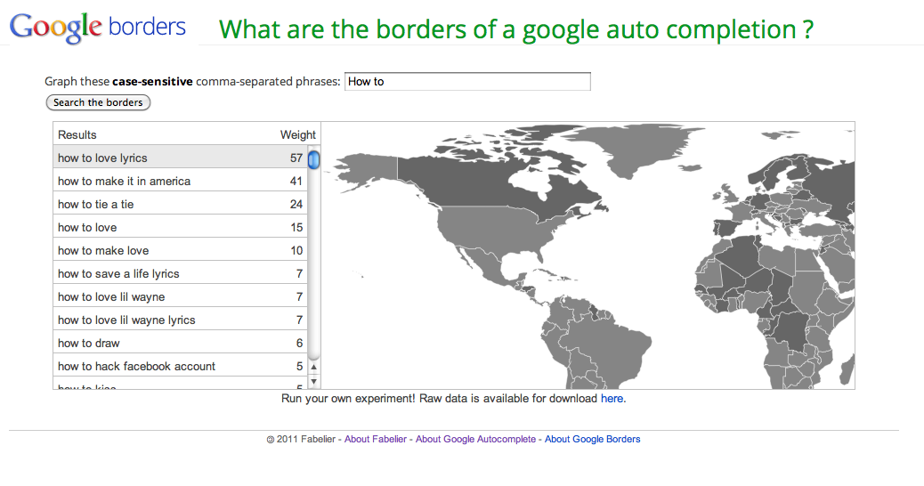 Googleborders visualize auto completion